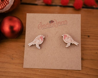 SALE Robin bird earring, wooden laser cut