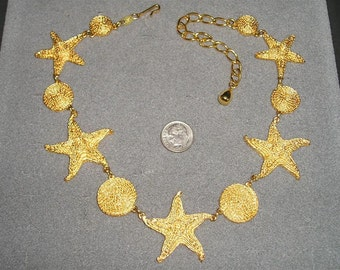 Vintage Trifari TM Gold Tone Starfish Seahore Necklace Early 1990's Signed Beach Jewelry A88