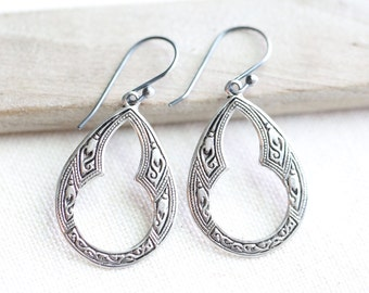 Sterling Silver Art Deco Drop Earring, Ornate Silver Oval Dangle, Art Nouveau, Sterling Silver, Weddings, Bridesmaids