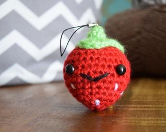 Kawaii Strawberry keychain Backpack Charm Amigurumi