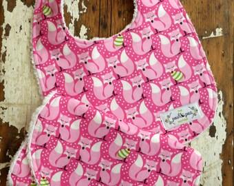 Baby Girl Bib and Burp Set - Sweater Fox Pink