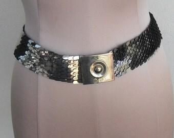 Vintage Scale Cinch Belt Silver-toned Metal Stretch