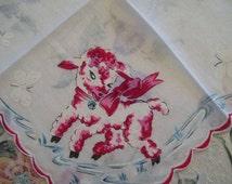 Childs Lamb Handkerchief Vintage Little Lamb Hankie