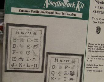 Bucilla Needlework Kit Cross Stitch Sampler  Alphabet Sampler Vintage