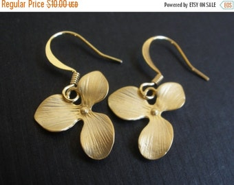 SALE Gold Orchid Earrings, Flower Earrings, Triple Petal, Matte Finish, Gold Orchid, Gold Flower Earrings, Bridesmaid Earrings, Bridesmaid G