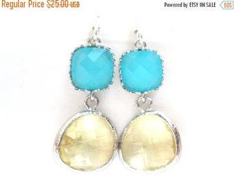 SALE Glass Earrings, Mint Blue Earrings, Yellow Earrings, Turquoise, Wedding, Bridesmaid Earrings, Bridal Earrings Jewelry, Bridesmaid Gifts
