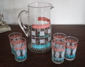Retro Pitcher and 5 Juice Glasses