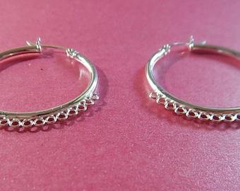 Pair Sterling Silver Hoops Earrings 20 Loops Pierced 30mm Jewelry Focal Drops