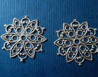 SALE! 50% OFF!! 2 Pc Snowflake Flower Filigree Matte Silver Ox Charm Stamping One Sided Jewelry Altered Art Mixed Media