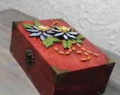Cherry treasure box decorated with two-tone blue quilled flowers/home décor/quilled blue flowers/wooden decorative box