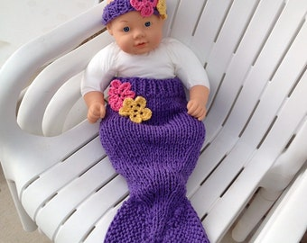 Baby Mermaid Tail in Lilac with a Matching Headband Diaper Cover 3-6 month baby