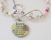 Bracelet/Infinity Love Bracelet/Love Charm/Glass Pearls/Bicone Crystals/Antique Silver Flower Spacers/Crystal Rondells/