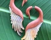 Swan Earrings - PANTHEA Tan Saba Wood and Mother of Pearl - Long Organic Fake Gauges - Bird Design