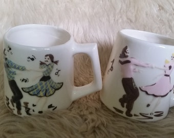 Two Swing Dancing Mugs Pink and Blue Square Dancing Rockabilly