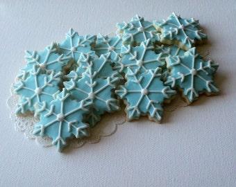 Mini Blue Snowflake Cookies - 3 Dozen Mini Cookies