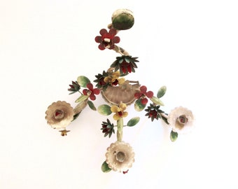 Vintage Tole Wall Candle Holder  3 tiers - Shabby Chic - Toleware Sconce - Wall hanging