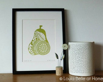 REDUCED Doodle Pear #2, an original papercut by Loula Belle at Home