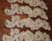 "Champagne Gold 9"" lace appliques, IVORY, WHITE, Bridal lace accents and trimming. Ships today."