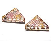 Unusual Ceramic Earring Charms Pair Rustic Stoneware Pottery Pink Purple