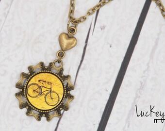 Yellow Bike Necklace, Bike Necklace, Bike Jewelry, Cycling Necklace, Cycling Jewelry, Yellow Bicycle Necklace, Bicycle Jewelry, 3D Bike