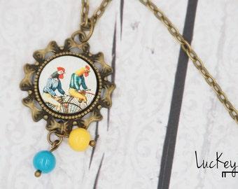 Rooster Bike Necklace, Bike Necklace, Bike Jewelry, Cycling Necklace, Cycling Jewelry, Funny Bicycle Necklace, Bicycle Jewelry, 3D Bike
