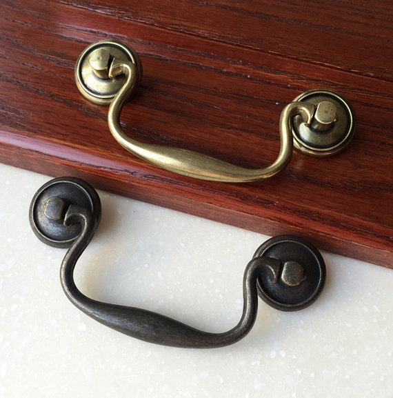 3 8 vintage bail shabby chic drawer pulls handles for Furniture bail pulls