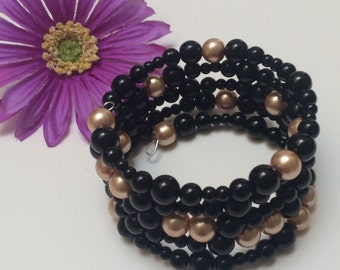 Black & Gold Memory wire bracelet