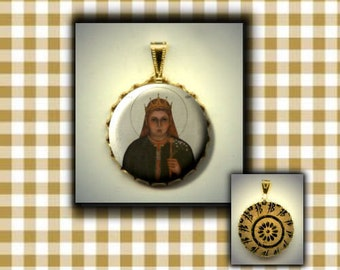 St ALENA Patron Saint of eye trouble and toothaches flat button CABOCHON in Brass Charm / Pendant