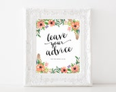 "Instant Download - Boho Bride Leave your Advice Sign - 8""x10"""
