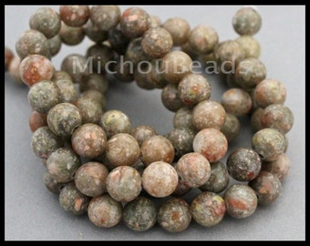 12 Beads - 8mm AUTUMN Jasper Round Gemstone Bead - Genuine Natural C Grade Semi precious Stone - Instant Shipping - USA - 6809