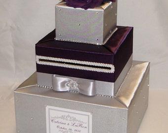 Elegant Custom made Wedding Card Box-Silver and Eggplant -rhinestones