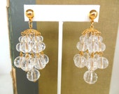 Vintage Pierced Earrings Chandeliers Crystal Gold 80's (item 171)