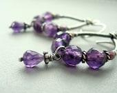 Amethyst earrings - Purple earrings - February birthstone - Hoop earrings - Wire wrapped jewelry - Purple jewellery - February birthday gift
