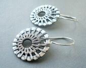 Wire Wrapped Earrings - Sterling Silver Earrings - Wire Wrapped Jewelry - Woven Wire Jewellery - Unusual Jewellery - Everyday Earrings