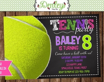 Tennis Birthday Invitation (TB02)