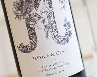 Monogram Wedding Wine Labels, Garden, Botanical, Woodland Wedding Set of 18