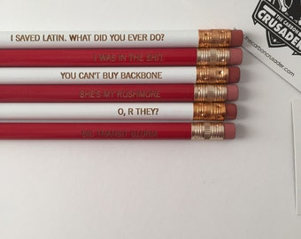 Rushmore inspired engraved pencils six pack. I saved Latin. you cant buy backbone  MATURE SWEAR