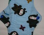 Kiki Mama Cloth Menstrual Pad Size Regular Blue with Ninjas