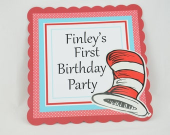 Dr Seuss Door Sign, Dr Seuss Theme, Birthday Party Door Sign, Dr Seuss baby shower, Blue, Red Black and White Colors