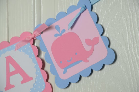 whale name banner birthday banner nautical baby shower whale