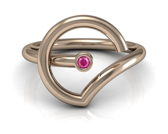 Abstract Pink Blue Yellow Sapphire Emerald Ruby Solitaire Ring in 14k Rose Gold 2mm wide | made to order for you within 5-7 business days