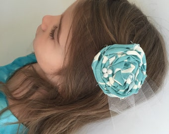 Rolled Fabric Flower Hair Clip, Teal and white - babies, girls, wedding, prom, women