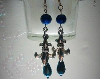 Fleur-de-lis Blue Earrings