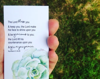 Numbers 6: 24-26.  Set of Five Little Prayer Cards
