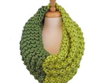 Large Chunky Ribbed Knit Cowl, Hand Knitted Olive and Lime Cowl Hood, Infinity Cowl Scarf, Oversized Snood