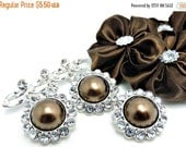 ON SALE 5 Rhinestone Pearl Buttons Acrylic Chocolate Pearl Buttons W/ Brilliant Clear Surrounding Rhinestones 26mm 3185-69P.