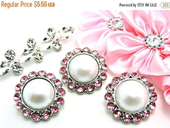 ON SALE 5 Rhinestone And Pearl Buttons Acrylic White Pearl Buttons W/ Brilliant Pink Surrounding Rhinestones 26mm 3185-09-26P.
