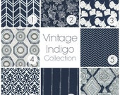 NEW! Vintage Indigo Collection. Dark Navy Curtain Panels. All Sizes. Decorative Window Treatments. Drapery Curtains. Dark Blue Curtains.