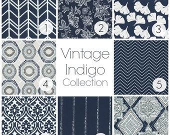 NEW! Vintage Indigo Collection. Dark Navy Curtain Panels. All Sizes. Decorative Window Treatments. Drapery Curtains. Dark Blue Curtains.