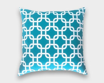 IMPERFECT 60% Off Clearance Decorative Pillow Cover - Sold As Is - Turquoise Pillow Cover. 16 X 24 Inch Chain Link Pillow. Throw Pillow.